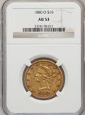Liberty Eagles: , 1880-O $10 AU53 NGC. NGC Census: (23/75). PCGS Population (18/27).Mintage: 9,200. Numismedia Wsl. Price for problem free N...