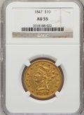 Liberty Eagles: , 1847 $10 AU55 NGC. NGC Census: (159/218). PCGS Population (32/44).Mintage: 862,258. Numismedia Wsl. Price for problem free...