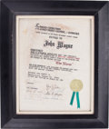 Movie/TV Memorabilia:Memorabilia, A 'Texas' Certificate, 1960....