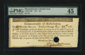 Colonial Notes:Massachusetts, Massachusetts 1781 $16 PMG Choice Extremely Fine 45.. ...