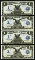 Large Size:Silver Certificates, Fr. 229 $1 1899 Silver Certificates Cut Sheet of Four Choice New..... (Total: 4 notes)