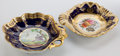 Ceramics & Porcelain, Whoopi Goldberg Collection. TWO ENGLISH PORCELAIN DISHES WITH GILT AND POLYCHROME DESIGN ON COBALT GROUND . 19th cent... (Total: 2 Items)