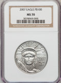 Modern Bullion Coins, 2007 $100 One-Ounce Platinum Eagle MS70 NGC. NGC Census: (0). PCGSPopulation (0). Numismedia Wsl. Price for problem free ...