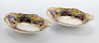 Whoopi Goldberg Collection  PAIR OF SPODE GILT PORCELAIN OVAL DISHES England, circa 1840 Mark