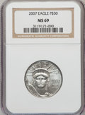 Modern Bullion Coins, 2007 $50 Half-Ounce Platinum Eagle MS69 NGC. PCGS Population (5/3).Numismedia Wsl. Price for problem f...