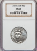 Modern Bullion Coins, 2007 $50 Half-Ounce Platinum Eagle MS70 NGC. NGC Census: (0). PCGSPopulation (3). Numismedia Wsl. Price for problem free ...