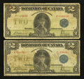 Canadian Currency: , DC-26c $2 1923 Two Examples. ... (Total: 2 notes)