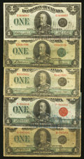 Canadian Currency: , King George V $1's Five Examples.. ... (Total: 5 notes)