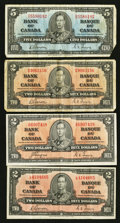 Canadian Currency: , King George VI $2's and $5's Fine or Better.. ... (Total: 4 notes)