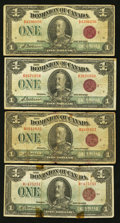 Canadian Currency: , King George V $1 1923 Notes Very Good or Better.. ... (Total: 4notes)