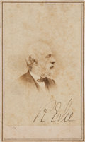 "Autographs:Military Figures, Robert E. Lee Signed Carte de Visite, ""R E Lee.,Gardner backmark, Washington, D.C...."