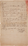 "Autographs:Statesmen, John Hart, Signer of the Declaration of Independence, DocumentSigned ""John Hart"". One page, 7.25"" x 12"", Perth Amboy, N..."