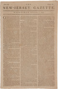 Miscellaneous:Newspaper, Revolutionary War Newspaper: New-Jersey Gazette....
