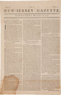 Miscellaneous:Newspaper, Newspaper: New-Jersey Gazette....