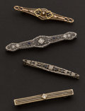 Estate Jewelry:Brooches - Pins, Four Antique 14k Bar Pins. ... (Total: 4 Items)