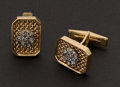 Estate Jewelry:Cufflinks, Diamond & Gold Cufflinks. ...