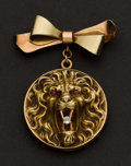 Estate Jewelry:Brooches - Pins, Lion Locket & Pin. ...