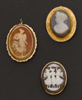 Estate Jewelry:Cameos, Three Gold Framed Cameos. ... (Total: 3 Items)