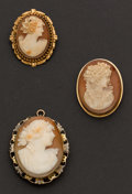 Estate Jewelry:Cameos, Three Antique Cameos. ... (Total: 3 Items)