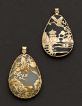 Estate Jewelry:Pendants and Lockets, Two Gold & Jade Pendants. ... (Total: 2 Items)