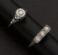 Estate Jewelry:Rings, Two White Gold Antique Rings. ... (Total: 2 Items)