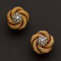 Estate Jewelry:Earrings, Gold & Diamond Clip Earrings. ...