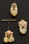 Estate Jewelry:Other , Three Gold topped Elk's Tooth Fobs. ... (Total: 3 Items)