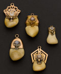 Estate Jewelry:Other , Five Gold Set Elk's Fobs. ... (Total: 5 Items)