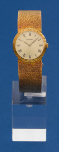 Timepieces:Wristwatch, Cartier By Piaget 24 mm 18k Gold Bracelet Wristwatch. ...