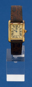 Timepieces:Wristwatch, Cartier Gold On Sterling Tank Wristwatch. ...