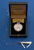 Timepieces:Pocket (post 1900), Howard White Gold Filled 12 Size Pocket Watch With Chain, Knife& Box. ...