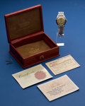 Timepieces:Wristwatch, Omega Steel Constellation Wristwatch for Repair With Box. ...