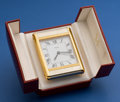 Timepieces:Clocks, Cartier Quartz Alarm Clock With Original Box. ...