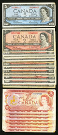Canadian Currency: , 1954 Modified Portrait $2 and $5 Notes and More.. ... (Total: 20notes)
