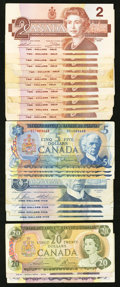 Canadian Currency: , $99 Canadian Face Good-Very Good or Better.. ... (Total: 22 notes)