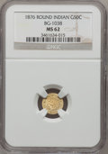 California Fractional Gold: , 1876 50C Indian Round 50 Cents, BG-1038, R.4, MS62 NGC. NGC Census:(6/2). PCGS Population (23/15). (#10867)...