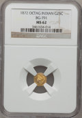 California Fractional Gold: , 1872 25C Indian Octagonal 25 Cents, BG-791, R.3, MS62 NGC. NGCCensus: (7/32). PCGS Population (37/185). (#10618)...
