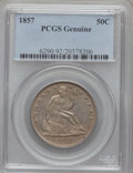 Seated Half Dollars, 1857 50C PCGS Genuine. The PCGS number ending in .92 suggestscleaned as the reason, or perhaps one of the reasons, that PC...