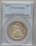 Seated Half Dollars, 1871-S 50C PCGS Genuine. The PCGS number ending in .92 suggestscleaned as the reason, or perhaps one of the reasons, that ...