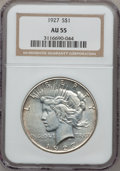 Peace Dollars: , 1927 $1 AU55 NGC. NGC Census: (63/3881). PCGS Population(170/5720). Mintage: 848,000. Numismedia Wsl. Price for problemfr...