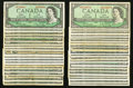 Canadian Currency: , Canadian 1954 $1's.. ... (Total: 41 notes)