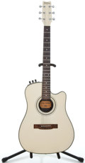 Musical Instruments:Acoustic Guitars, Washburn SBF-24 Metallic White Acoustic Electric Guitar ...