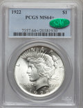 Peace Dollars: , 1922 $1 MS64+ PCGS. CAC. PCGS Population (38171/6131). NGC Census:(74595/14999). Mintage: 51,737,000. Numismedia Wsl. Pric...