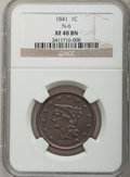 Large Cents: , 1841 1C XF40 NGC. N-6. NGC Census: (1/90). PCGS Population (6/59).Mintage: 1,597,367. Numismedia Wsl. Price for problem f...