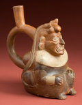 American Indian Art:Pottery, Mochica III Ai Apaec Deity Stirrup Bottle...