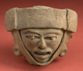 American Indian Art:Pottery, Veracruz Ball Player Head Fragment...