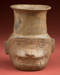 American Indian Art:Pottery, Chavin Janus Form Transformational Deity Cup...