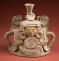American Indian Art:Pottery, Southern Lowlands Maya Incense Burner Lid with Goddess...