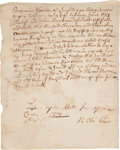 Military & Patriotic:Revolutionary War, [Colonial America] 1724 Document Concerning Military Impressmentand an Indian Replacement....