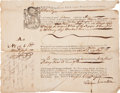 Autographs:Statesmen, [Colonial America] Aaron Lopez, Prominent Jewish Merchant, Bill ofLading For Molasses Shipped to Boston, Undoubtedly Obtained...